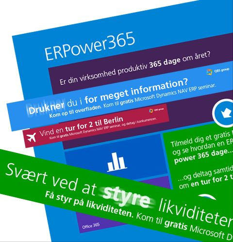 A collage of elements from a campaign we did for QBS, a  company that helps Microsoft ERP partners with their marketing efforts. This campaign was for local Danish partners and included direct mails and online ads that drove targeted traffic to a landing page where people could download a white paper and  sign up for a seminar.