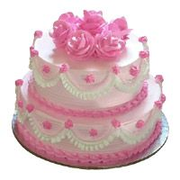 Two Tier Eggless Strawberry Cake