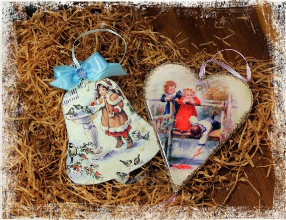 Wood Christmas decoration Wooden Christmas by Decoupagemiracles