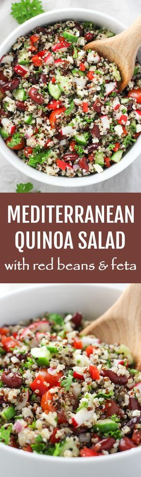 This Mediterranean Quinoa Salad with Red Beans and Feta is delicious and healthy. Enjoy it for dinner as a main or side dish or take it to work the next day for a healthy lunch.