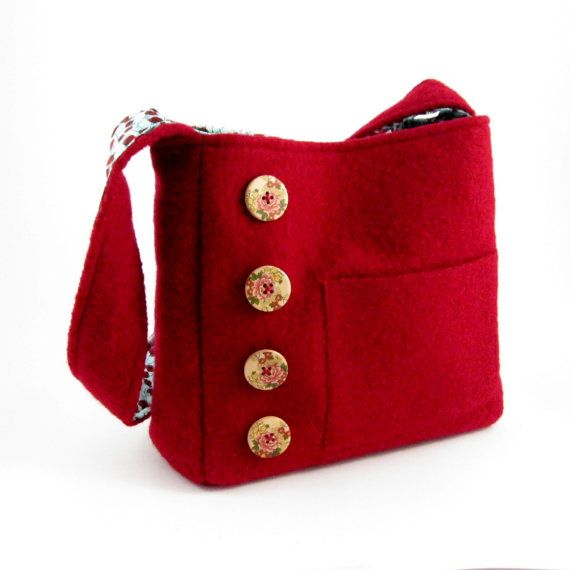 Felted red wool shoulder bag