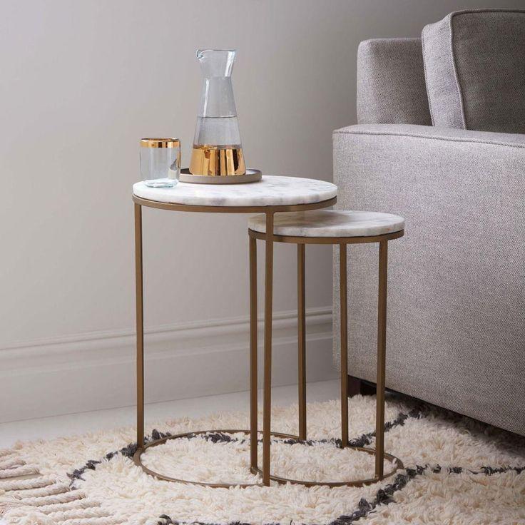 Round Nesting Side Tables Set - Marble/Antique Brass   west elm UK