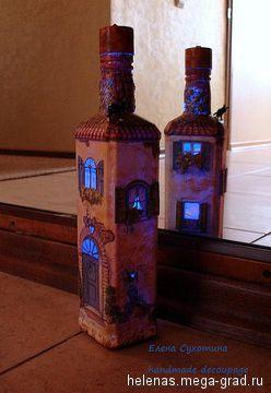 """Бутылка-светильник """"Дом, милый дом!"""" - Авторская работа, авторский светильник/лампа для интерьера. МегаГрад - портал авторской ручной работы"""