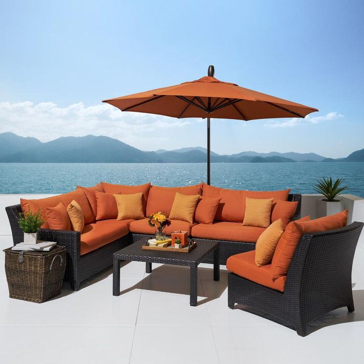 RST Brands Deco 6-Piece All-Weather Patio Sectional Set with 10 ft. Umbrella and Tikka Orange Cushions
