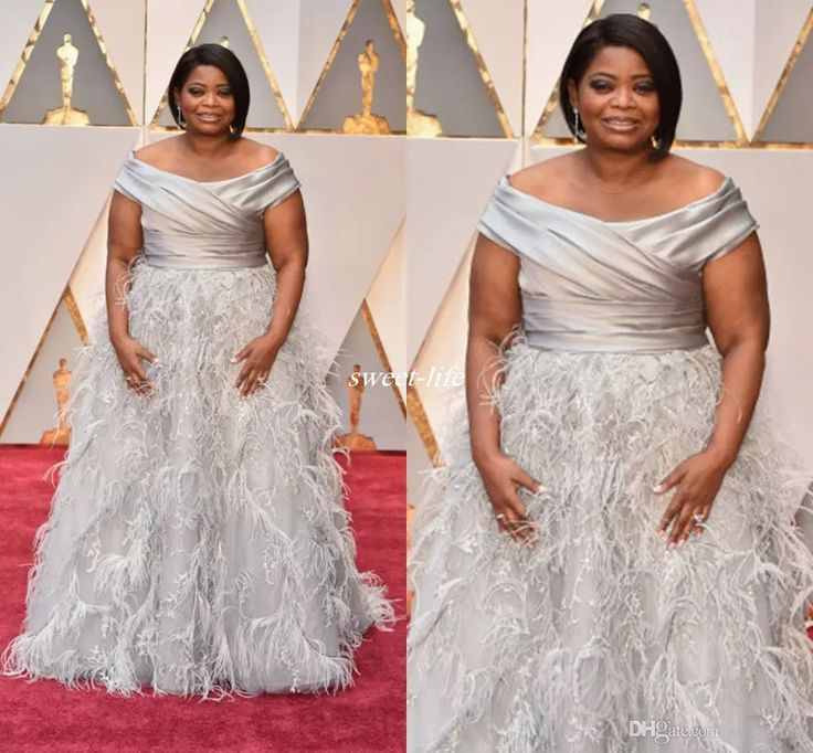 Elegant Octavia Spencer Oscars Evening Dresses Silver Off Shoulder with Feather Beading Long 2017 Plus Size Occasion Gowns Celebrity Dress Celebrity Dresses Cheap Evening Dresses Online with $220.0/Piece on Sweet-life's Store | DHgate.com