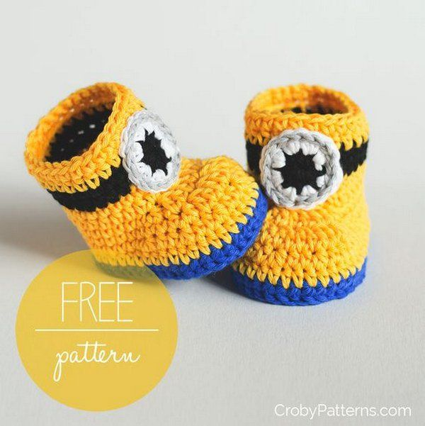 Free Crochet Pattern: Minion Inspired Baby Booties.