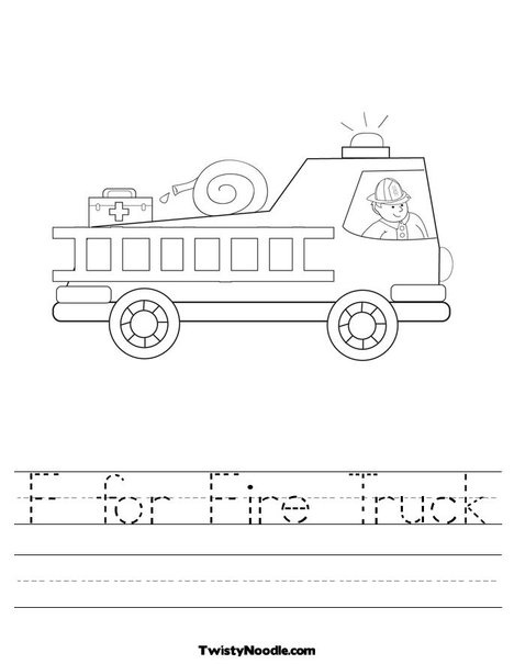 F For Fire Truck Worksheet Preschool