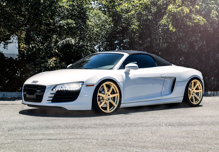 2006 white convertible audi r8 with gold niche monotec scuderia 7 wheels staggered 20 inch. Black Bedroom Furniture Sets. Home Design Ideas
