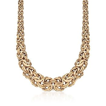 Italian 18kt Yellow Gold Graduated Byzantine Necklace
