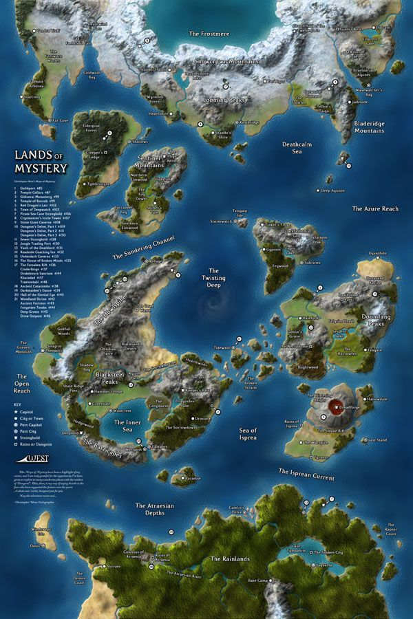 I love the volcano. The Lands of Mystery continental map