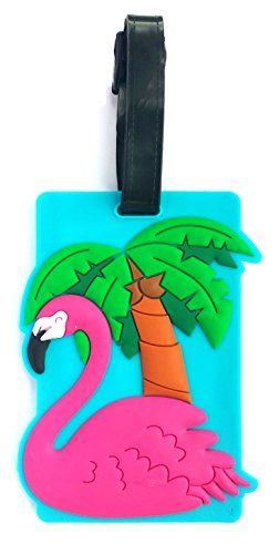 Cute Pink FLAMINGO PVC Luggage Suitcase Tag Bag Identifier by https