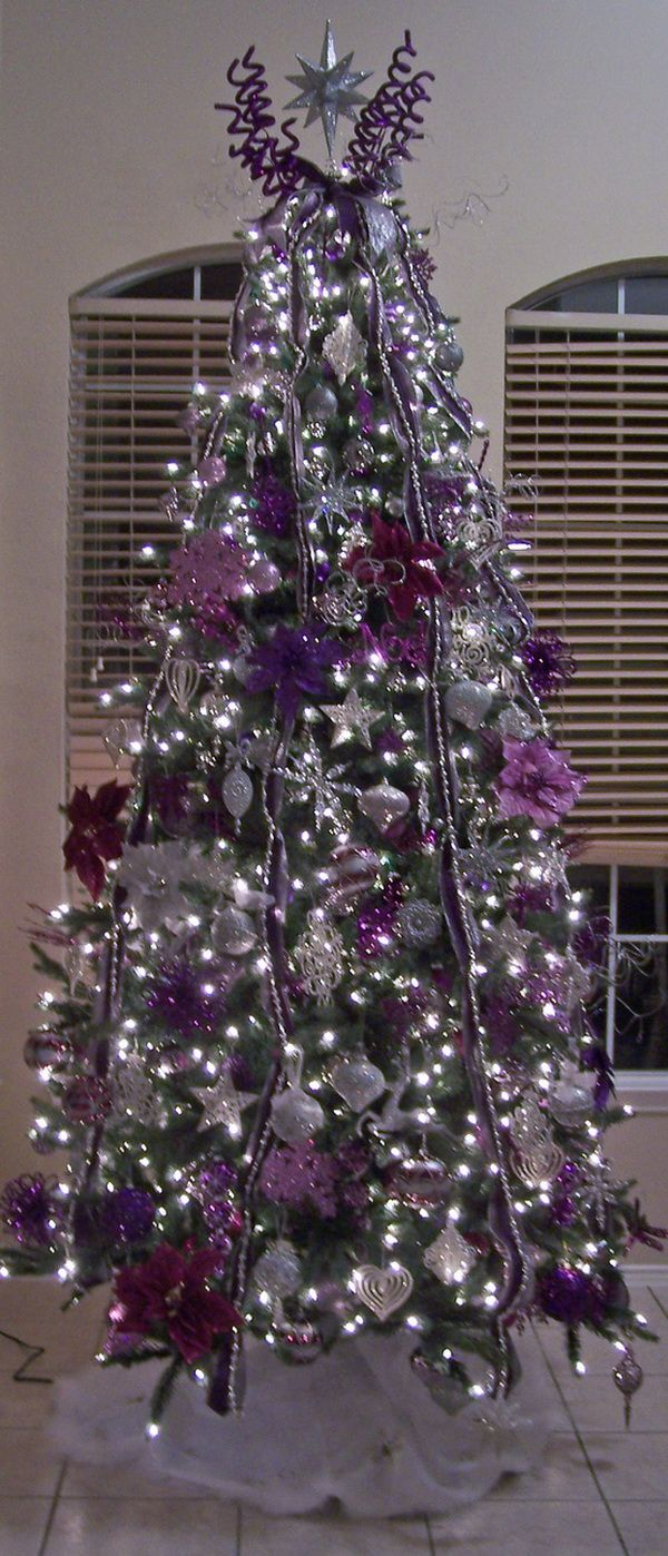 Purple decorated christmas trees - Unique And Sophisticated Christmas Tree Decorations