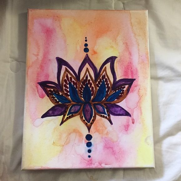 Hand painted watercolor lotus flower canvas! I did this painting about a week ago. It's a very fun & boho lotus canvas. Great for a dorm room or bedroom! Other