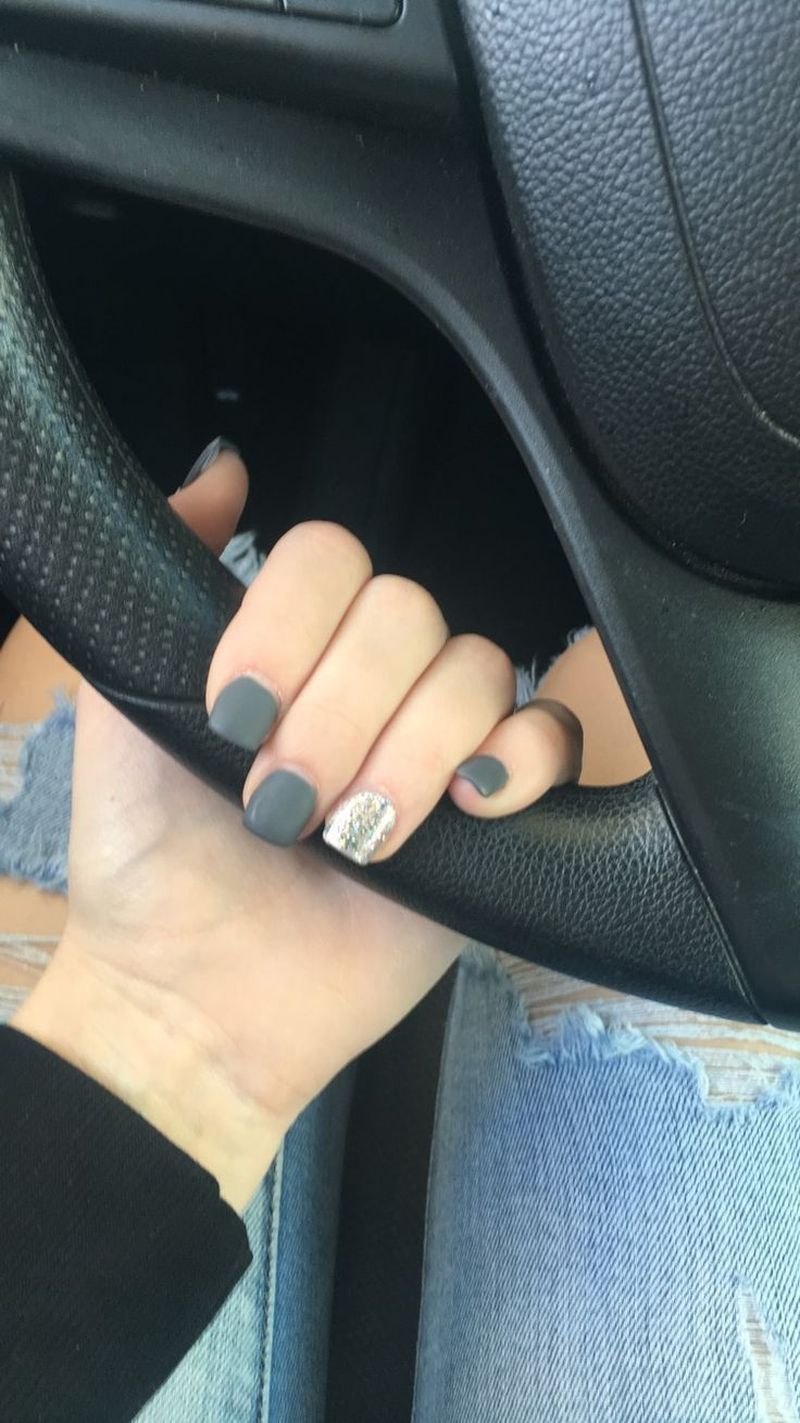 Matte Sparkle Grey Dark Grey Short Square Acrylic Nails Square Acrylic Nails Short Square Acrylic Nails Trendy Nails