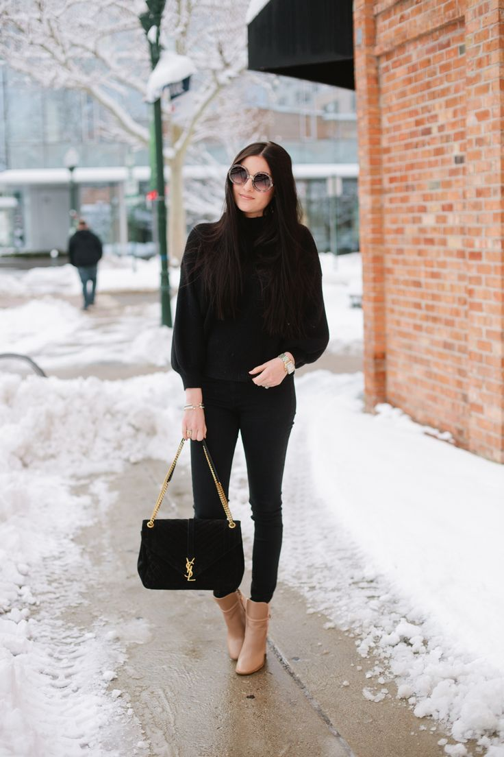 black outfit, black skinny jeans, tan booties, casual outfit, winter outfit, date night outfit, rach parcell, pink peonies