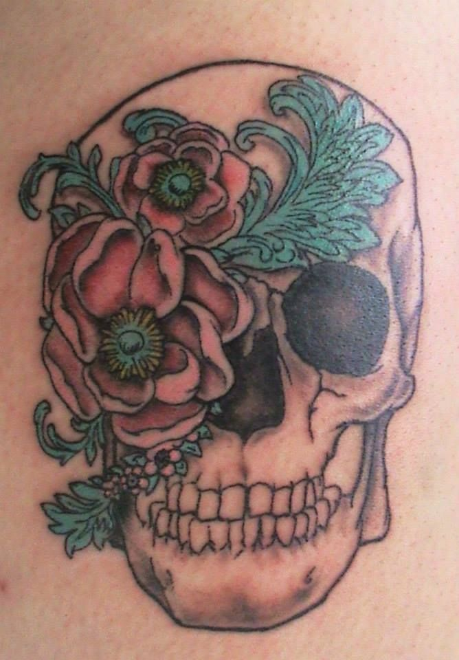 Flower & Feather Sugar Skull Tattoo Eyewitness Tattoo Tulsa
