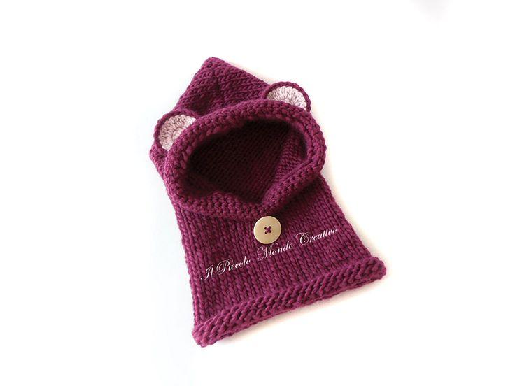 Cappuccio per bambini a forma di orsetto, Cappuccio con orecchie , Scaldacollo lavorato ai ferri e uncinetto in lana di PiccoloMondoCreativo su Etsy