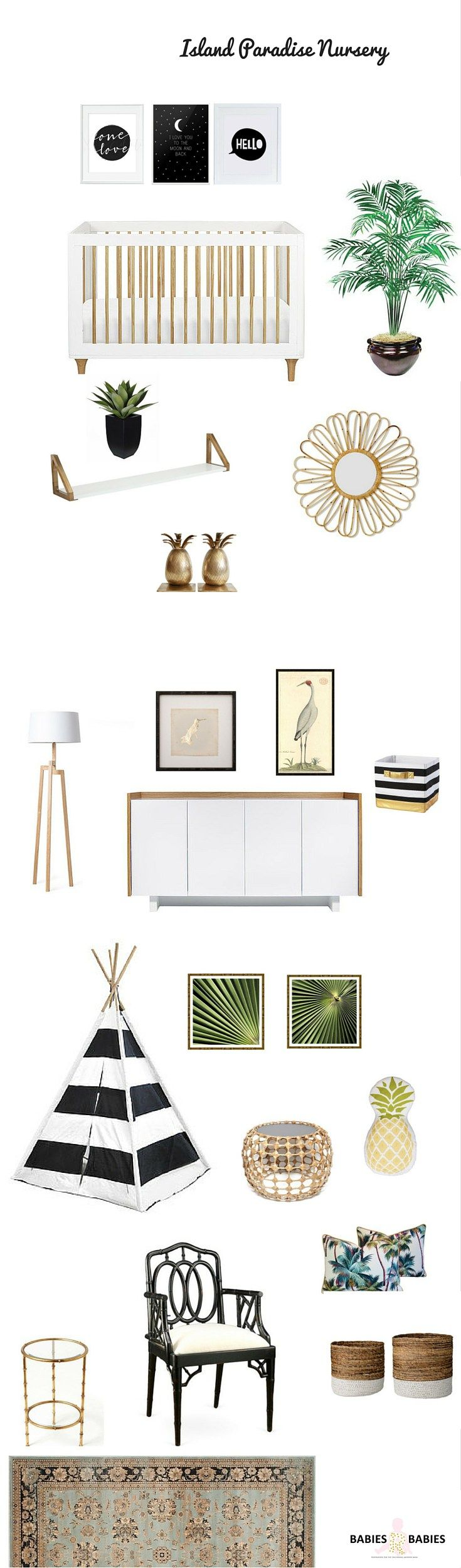 An island paradise tropical baby nursery with bold tropical prints and lots of natural materials such as rattan, cane and bamboo as well as sprinklings of black and gold to create a modern tropical nursery.