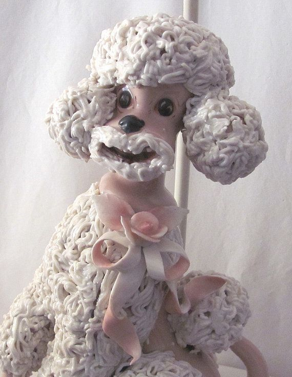 Vintage Spaghetti Pink And White Poodle Lamp Works