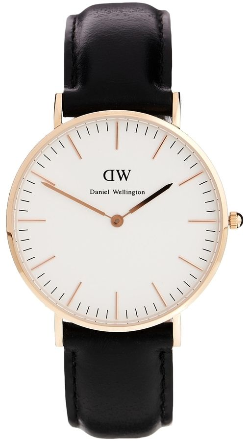 €258, Reloj de Cuero Negro y Dorado de Daniel Wellington. De Asos. Detalles: https://lookastic.com/women/shop_items/327951/redirect