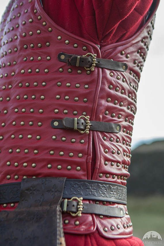 """Brigandine refers to a cloth or leather sleeveless armor coat with steel plates riveted into it. The """"Bird of Prey"""" brig is todays version of just that - a convenient way to carry overlapping metal plates, which does not require chain mail add-ons and can be worn directly over your padding. If you're looking for a close-fit but highly protective body armor, say hello to the top-flight: the leather brigandine. Due to its light weight and compact size, its the best go-to body armor that…"""
