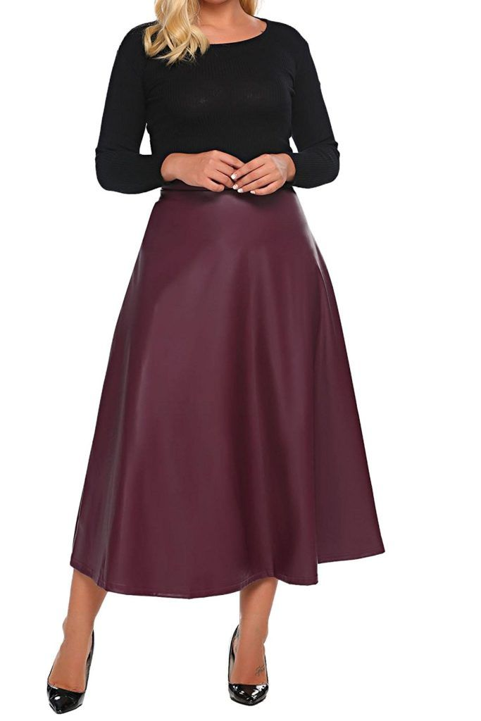 05f5fd1d13392 Involand Womens Plus Size High Waist Flared A Line Swing Maxi Leather Skirt  For Party Casual