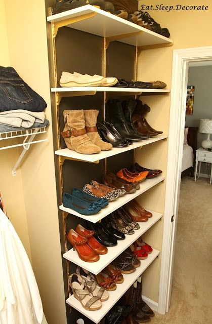 Eat. Sleep. Decorate.: {DIY} Home Depot Shelves Turned Shoe Organization