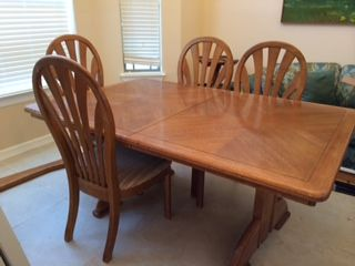 Oak Dining Table With Leaf And Four Chairs In MAWs_saleu0027s Garage Sale In  McAllen , TX