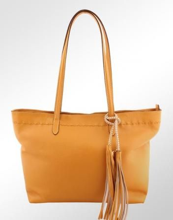 6f149ba56 Bolsa em Couro Legítimo Shopper Luz da Lua Feminina Amarelo. #moda  #modafeminina #fashion #tendencia #acessorios #bolsas #lookbebedodia #moda…