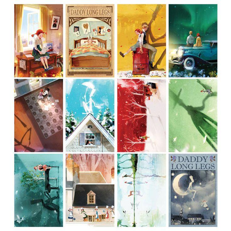 "Daddy Long Legs Postcard Book 3.9"" x 5.9"" 12 Postcards & 5 Envelope Illustration"