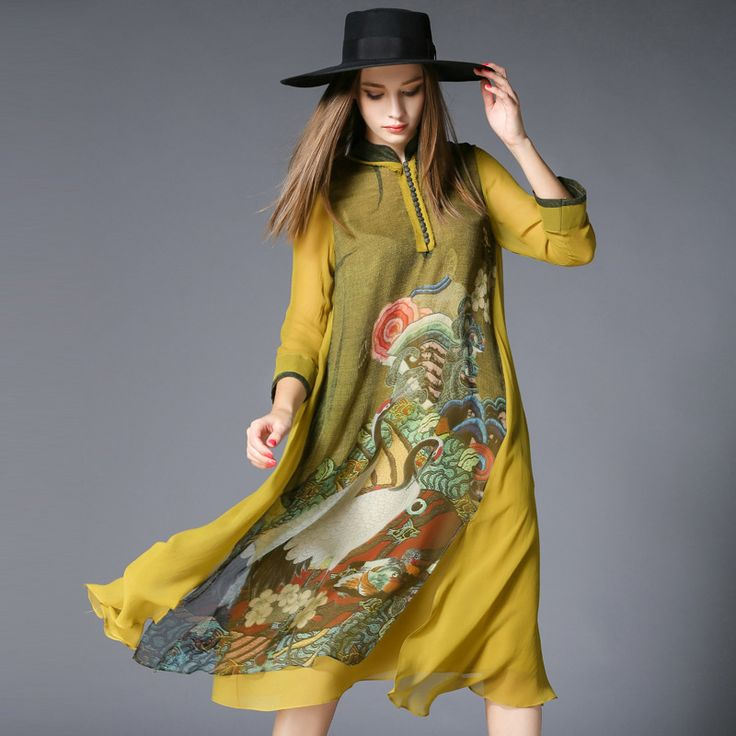New Spring Vintage Dresses European Style high-end Vintage Dress Long Sleeve china-air-express Print Dress Online Shop Clothing //Price: $54.00 & FREE Shipping //     #shoppingday