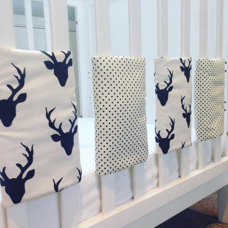Our ever popular Stag cot bar bumpers available in 8 colours with matching blankets, patchwork quilts and storage baskets.