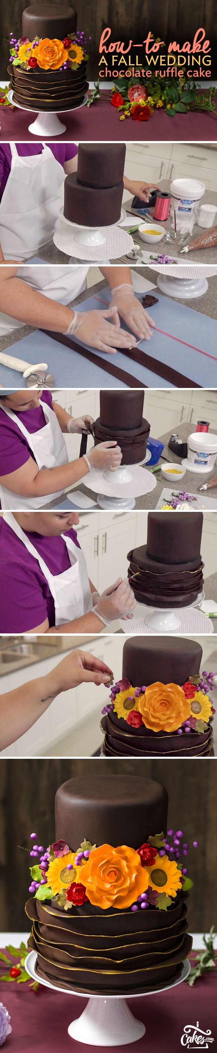 Make a fondant chocolate cake fit for royalty with gold accents and gum paste flowers. It's surprisingly simple to make and will look gorgeous at any fall wedding.
