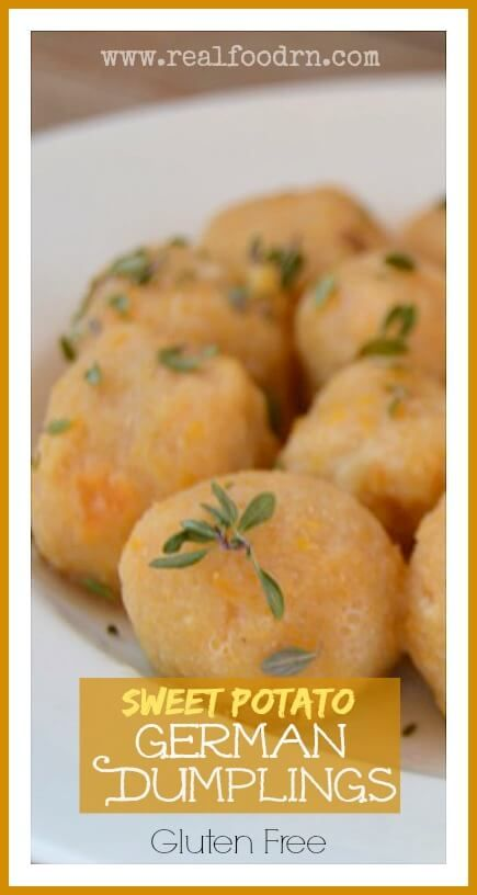 Sweet Potato German Dumplings that are gluten and grain free! This is a healthier version of my Grandmas old German recipe. They are great with gravy, butter, or in a soup! realfoodrn.com #paleodumplings #germandumplings