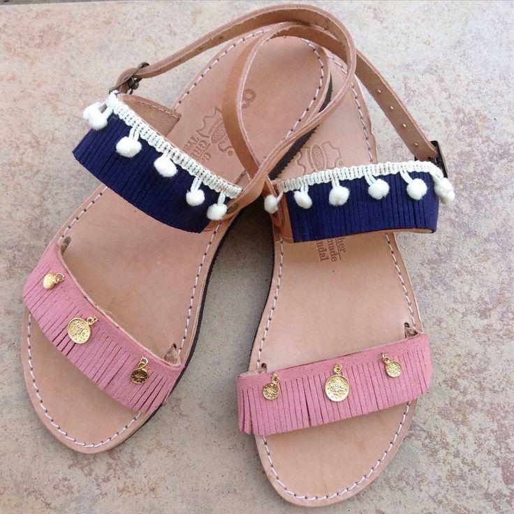 Bohemian sandals #blue #pink