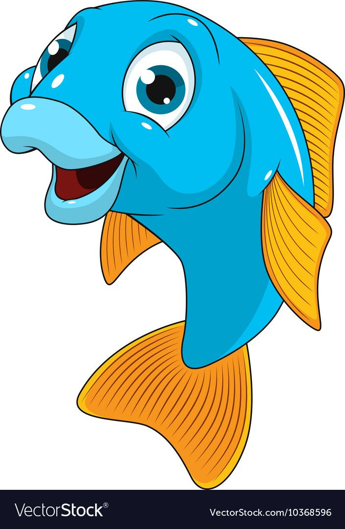 Funny Fish Smiles On A White Background Download A Free Preview Or High Quality Adobe Illustrator Ai Eps Baby Animal Drawings Cartoon Fish Cartoon Clip Art