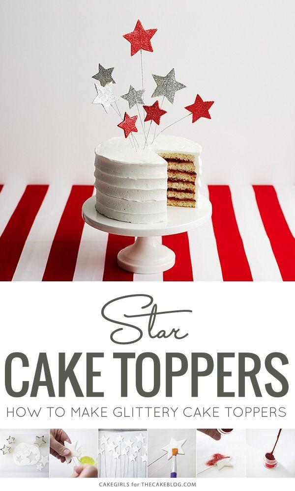 DIY Glittery Star Cake Toppers | Stars & Stripes Cake by Cakegirls for TheCakeBlog.com