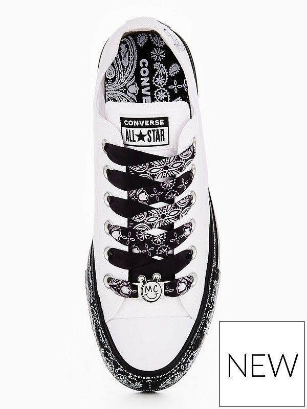 f9297b91f50f Converse X Miley Cyrus Chuck Taylor All Star Low Top - White/Black |  very.co.uk
