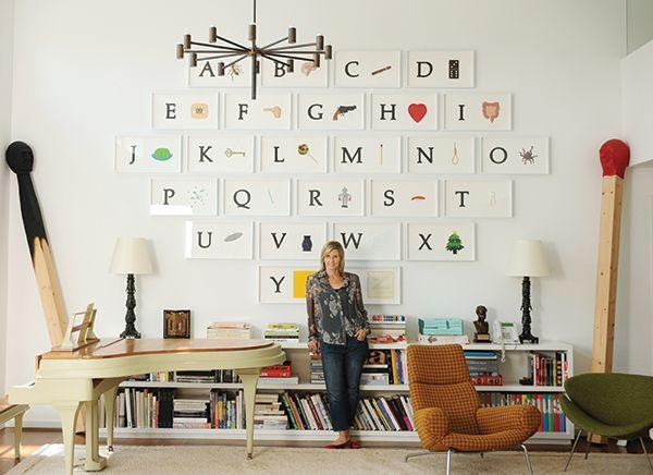 Viveca Paulin-Ferrell with John Baldessari's A B C Art (Low Relief): A/Ant, Etc. (Keyboard), 2009. ©STEFANIE KEENAN