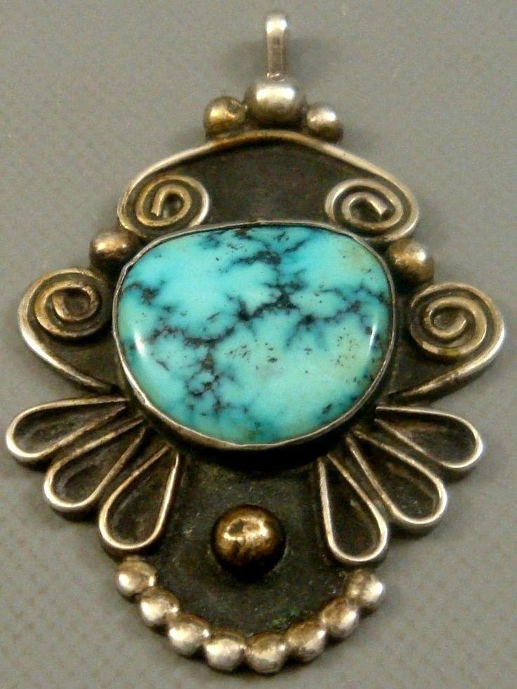 BIG Vintage 1940's NAVAJO Sterling Silver & RARE *DENDRITE* Turquoise Pendant  #NavajoOldPawn