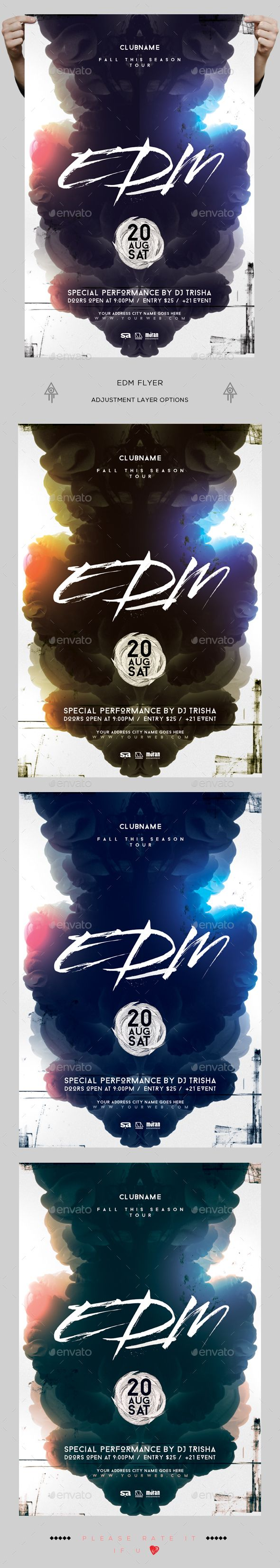 EDM Flyer — Photoshop PSD #nightclub #event • Download ➝ https://graphicriver.net/item/edm-flyer/18956298?ref=pxcr