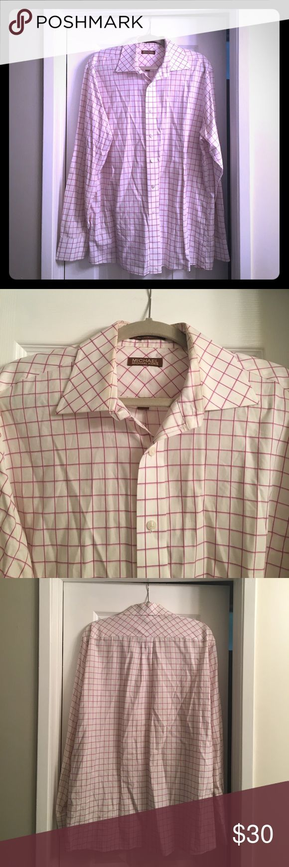 Men's shirt Michael Kors men's shirt. Red and pink check pattern. Excellent condition like new. Michael Kors Shirts Casual Button Down Shirts