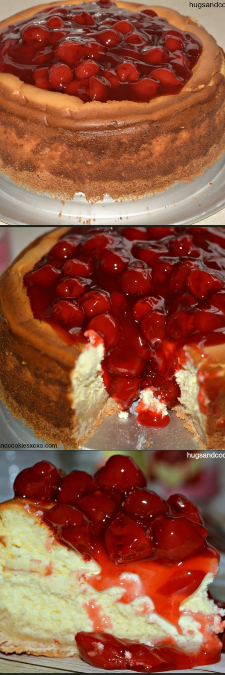 Sugar Cookie Cherry Cheesecake - Hugs and Cookies XOXO