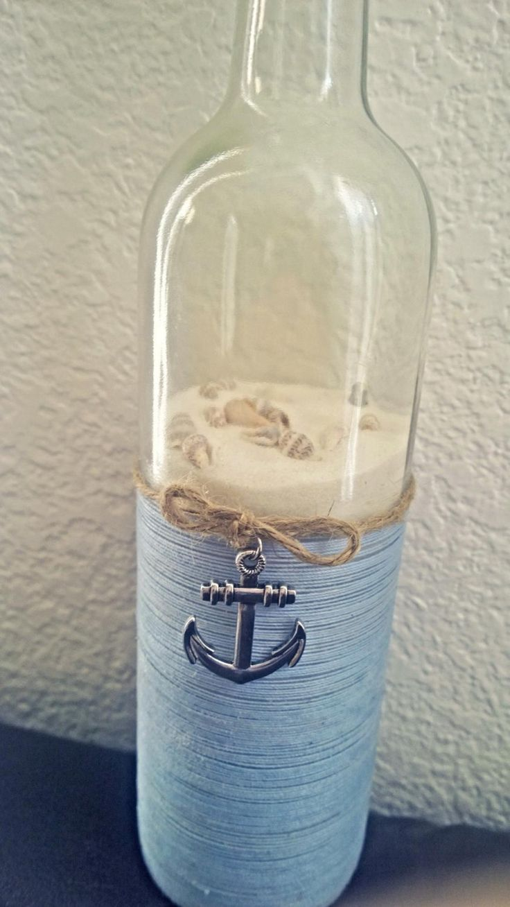 Nautical upcycled wine bottle by SmartHippie on Etsy