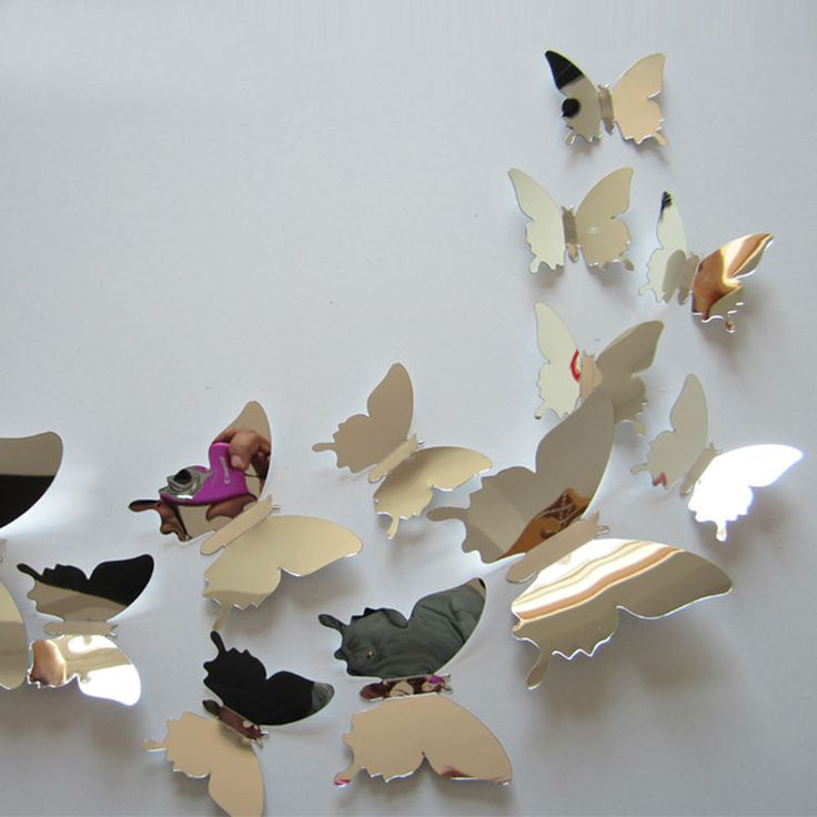 flying butterfly free shipping children's room mirror wall sticker home decoration 12 pcs / lot plastic mirror home decor-in Wall Stickers from Home & Garden on Aliexpress.com | Alibaba Group
