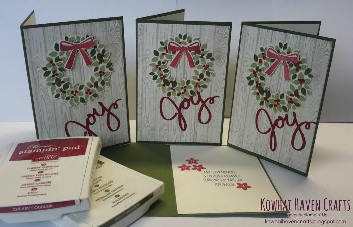 SNEAK PEEK: Stampin' Up! 2014 Holiday Catalogue - christmas card using the Wreath bundle available August 2014