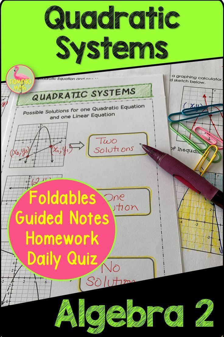 Quadratic Systems Algebra 2 Unit 4 Quadratics Algebra