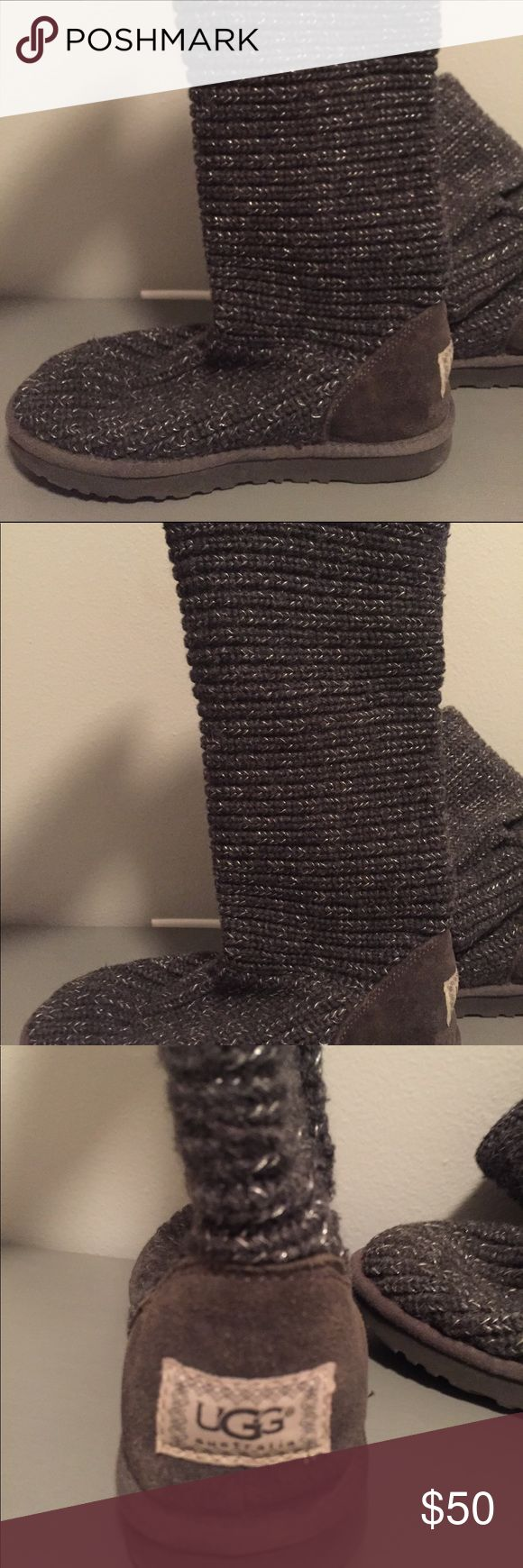 Ugg Boots Tall Grey Knit Tall grey and silver knit ugg boats, size 8 UGG Shoes Winter & Rain Boots