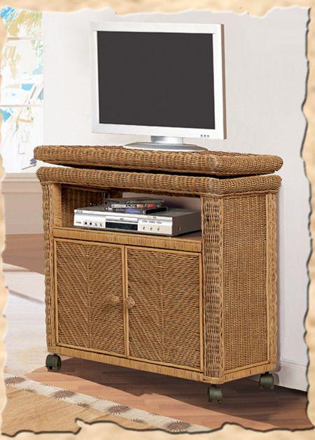 Santa Cruz Honey Wicker TV Cabinet B579 by Seawinds Trading | B57917 Low TV Stand, B57918 Tall TV Stand