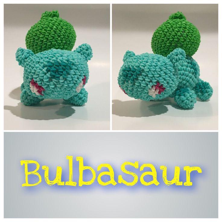 Balbasaur (Pokémon) Rubber Band Figure, Rainbow Loom Loomigurumi, Rainbow Loom Character by BBLNCreations on Etsy Loomigurumi Amigurumi Rainbow Loom